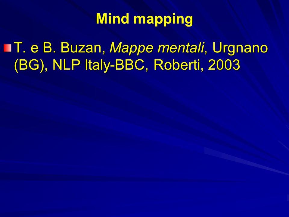 Mind mapping T. e B. Buzan, Mappe mentali, Urgnano (BG), NLP Italy-BBC, Roberti, 2003