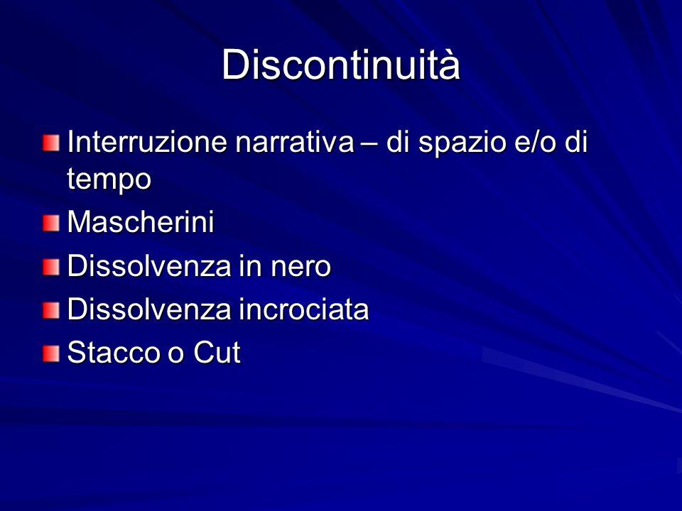 Discontinuità Interruzione narrativa – di spazio e/o di tempo Mascherini Dissolvenza in nero Dissolvenza incrociata Stacco o Cut