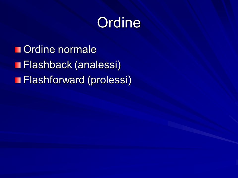 Ordine Ordine normale Flashback (analessi) Flashforward (prolessi)