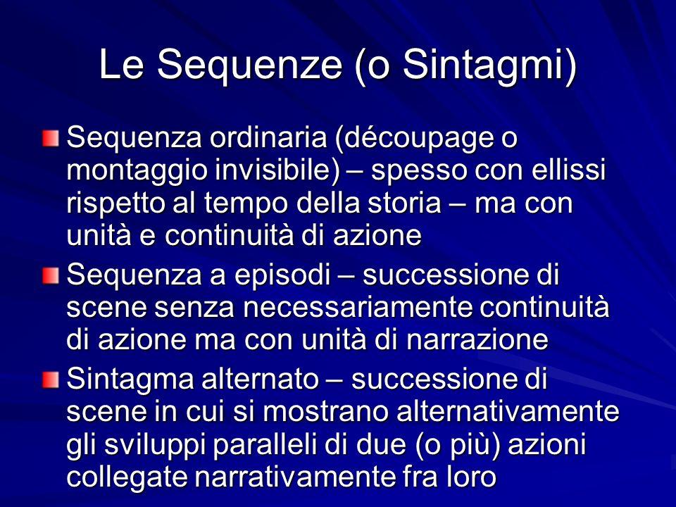 Le Sequenze (o Sintagmi) Sequenza ordinaria (découpage o montaggio invisibile) – spesso con ellissi rispetto al tempo della storia – ma con unità e co