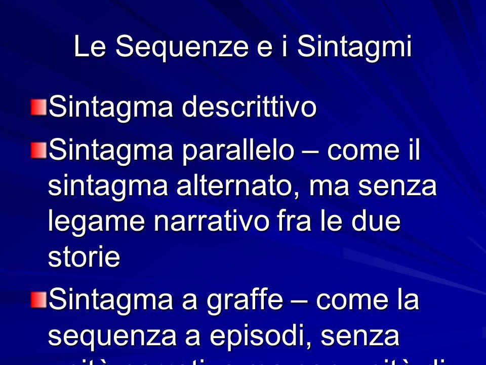 Le Sequenze e i Sintagmi Sintagma descrittivo Sintagma parallelo – come il sintagma alternato, ma senza legame narrativo fra le due storie Sintagma a