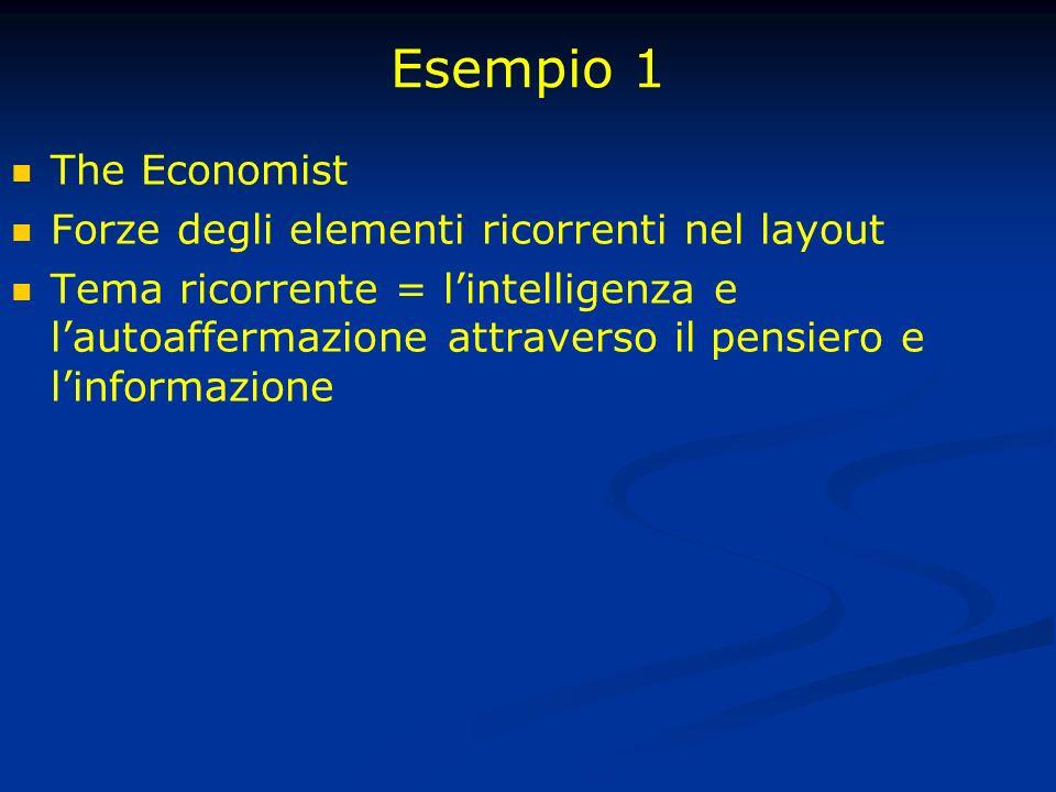Esempio 1 The Economist Forze degli elementi ricorrenti nel layout Tema ricorrente = lintelligenza e lautoaffermazione attraverso il pensiero e linformazione