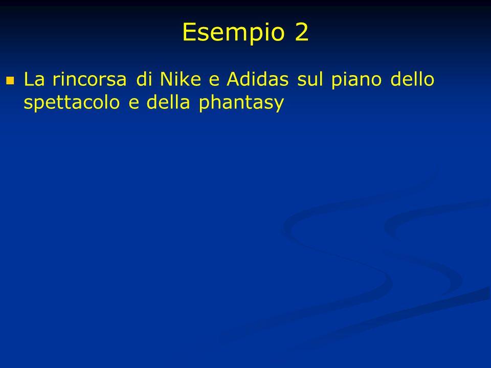 Esempio 2 La rincorsa di Nike e Adidas sul piano dello spettacolo e della phantasy