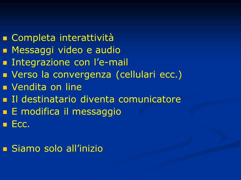 Completa interattività Messaggi video e audio Integrazione con le-mail Verso la convergenza (cellulari ecc.) Vendita on line Il destinatario diventa comunicatore E modifica il messaggio Ecc.