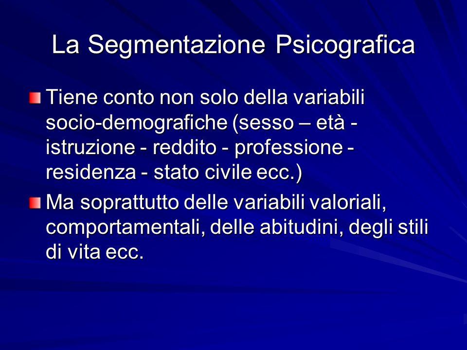 La Segmentazione Psicografica Tiene conto non solo della variabili socio-demografiche (sesso – età - istruzione - reddito - professione - residenza -