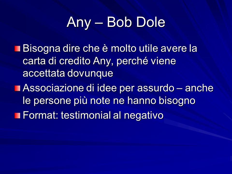 Any – Bob Dole Bisogna dire che è molto utile avere la carta di credito Any, perché viene accettata dovunque Associazione di idee per assurdo – anche le persone più note ne hanno bisogno Format: testimonial al negativo