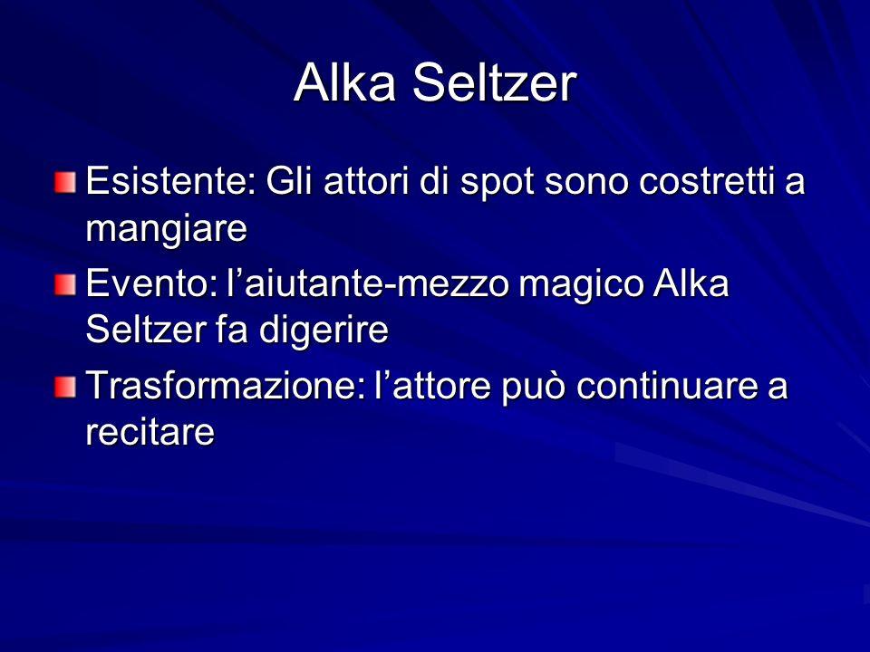 Alka Seltzer Esistente: Gli attori di spot sono costretti a mangiare Evento: laiutante-mezzo magico Alka Seltzer fa digerire Trasformazione: lattore p