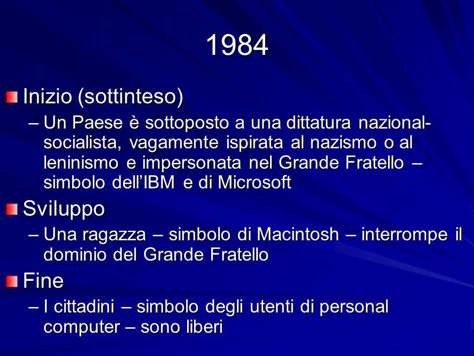 1984 Inizio (sottinteso) –Un Paese è sottoposto a una dittatura nazional- socialista, vagamente ispirata al nazismo o al leninismo e impersonata nel G