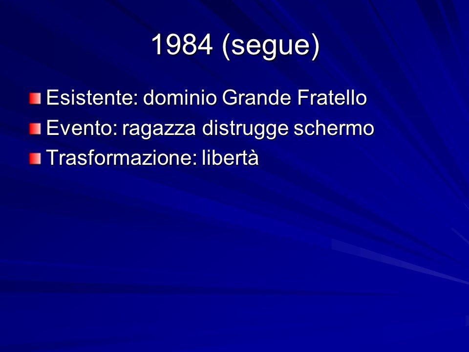 1984 (segue) Esistente: dominio Grande Fratello Evento: ragazza distrugge schermo Trasformazione: libertà