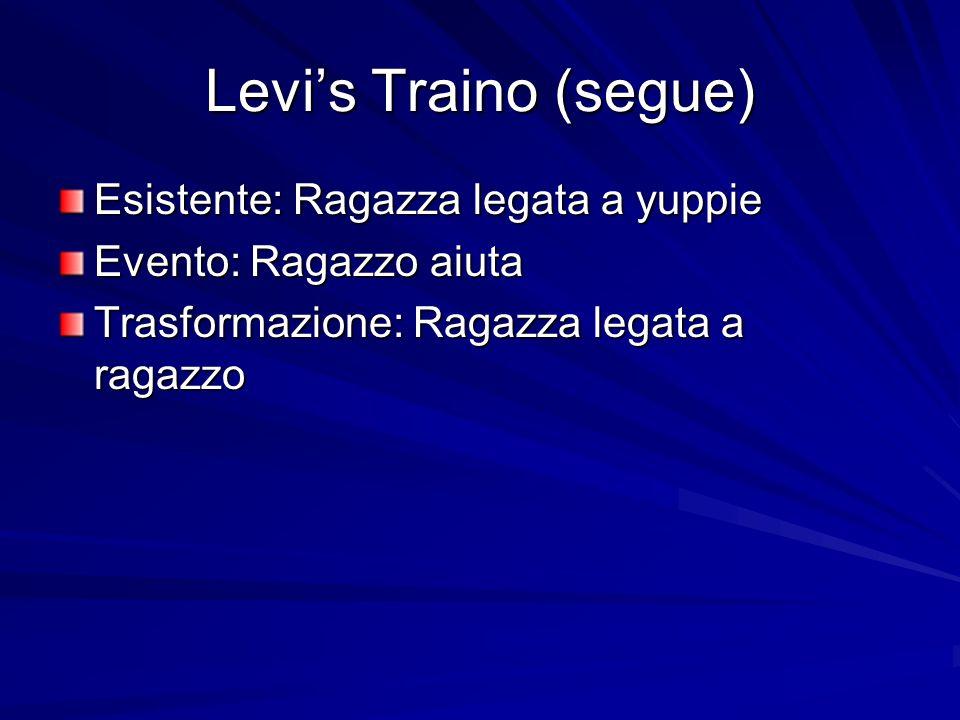 Levis Traino (segue) Esistente: Ragazza legata a yuppie Evento: Ragazzo aiuta Trasformazione: Ragazza legata a ragazzo