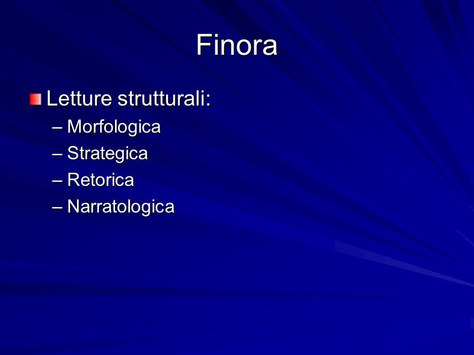 Finora Letture strutturali: –Morfologica –Strategica –Retorica –Narratologica