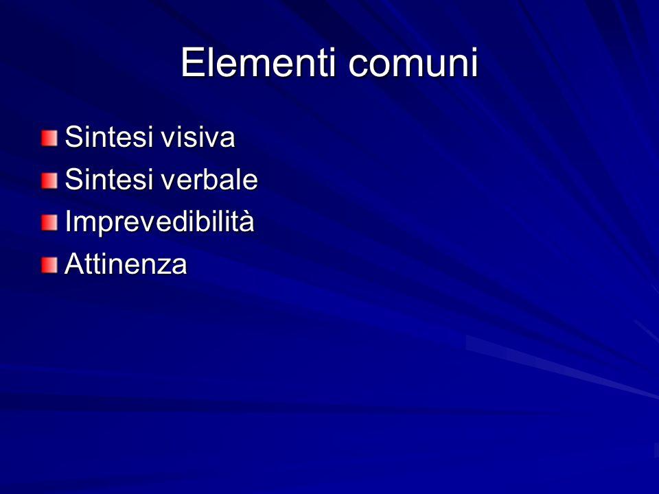 Elementi comuni Sintesi visiva Sintesi verbale ImprevedibilitàAttinenza