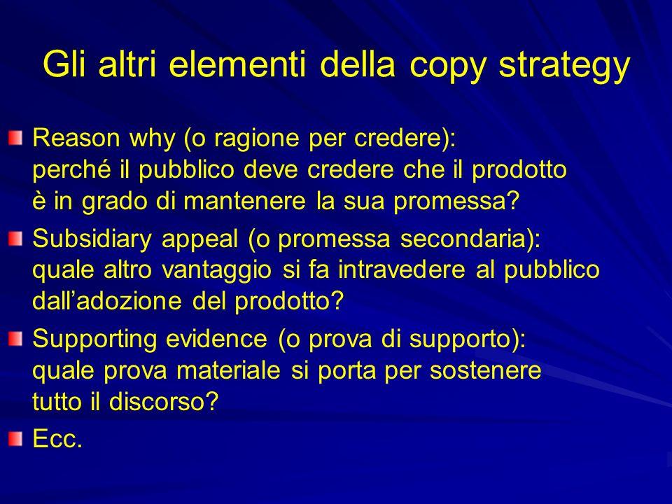 Gli altri elementi della copy strategy Reason why (o ragione per credere): perché il pubblico deve credere che il prodotto è in grado di mantenere la sua promessa.