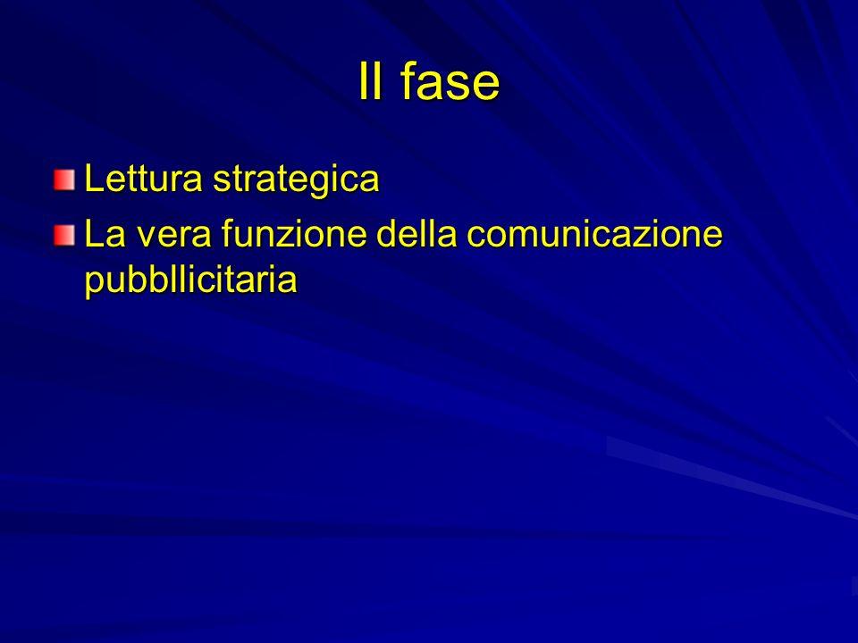 II fase Lettura strategica La vera funzione della comunicazione pubbllicitaria