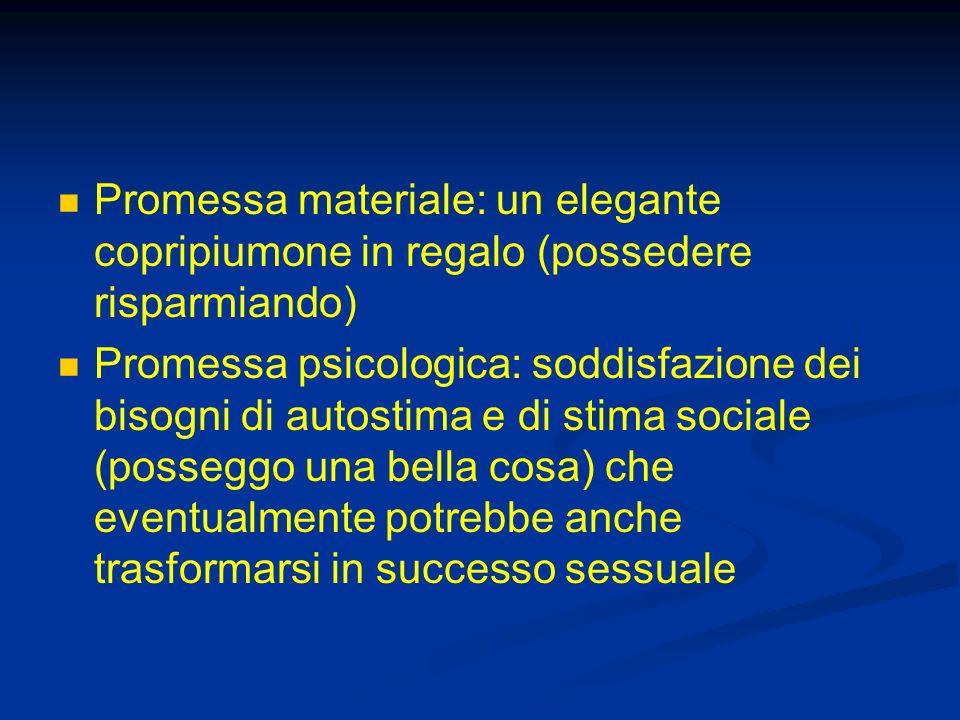 Promessa materiale: un elegante copripiumone in regalo (possedere risparmiando) Promessa psicologica: soddisfazione dei bisogni di autostima e di stim