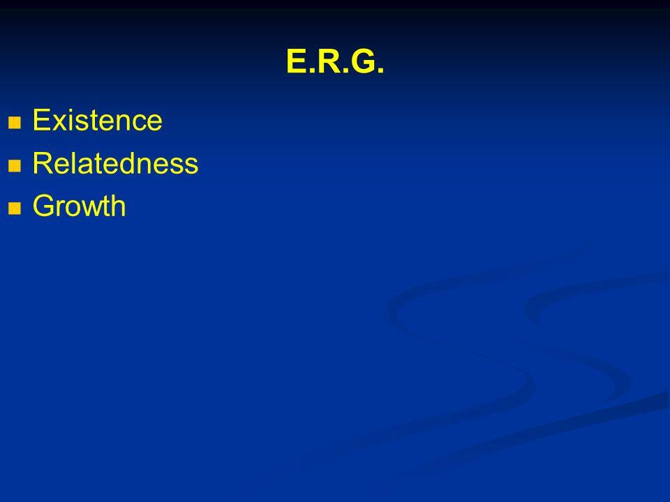 E.R.G. Existence Relatedness Growth
