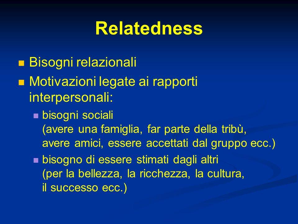 Relatedness Bisogni relazionali Motivazioni legate ai rapporti interpersonali: bisogni sociali (avere una famiglia, far parte della tribù, avere amici