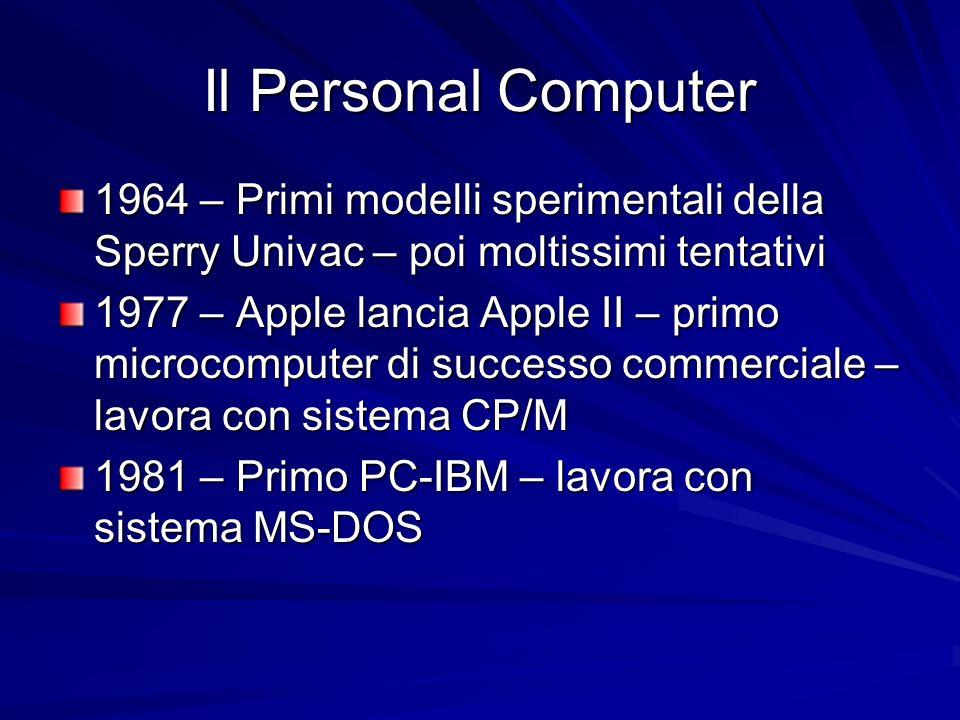 Il Personal Computer 1964 – Primi modelli sperimentali della Sperry Univac – poi moltissimi tentativi 1977 – Apple lancia Apple II – primo microcomput
