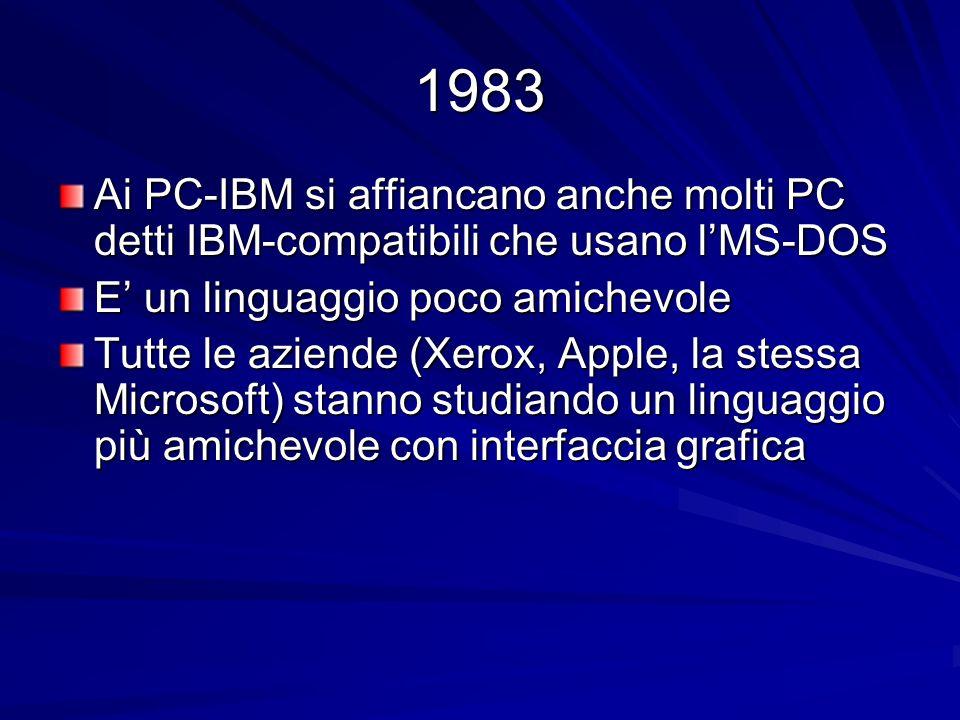 Ai PC-IBM si affiancano anche molti PC detti IBM-compatibili che usano lMS-DOS E un linguaggio poco amichevole Tutte le aziende (Xerox, Apple, la stes