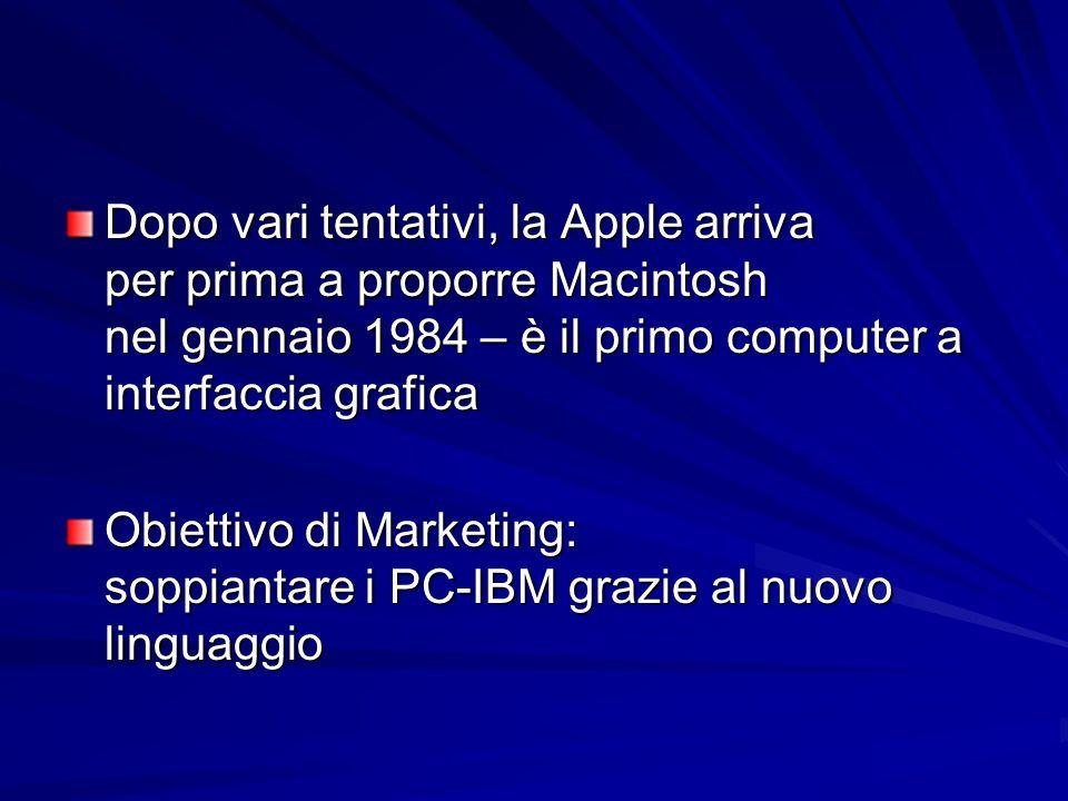 Dopo vari tentativi, la Apple arriva per prima a proporre Macintosh nel gennaio 1984 – è il primo computer a interfaccia grafica Obiettivo di Marketin