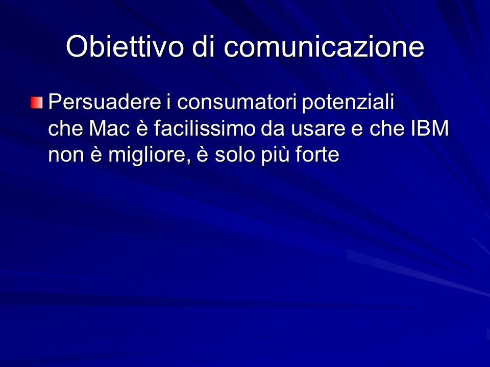 Obiettivo di comunicazione Persuadere i consumatori potenziali che Mac è facilissimo da usare e che IBM non è migliore, è solo più forte