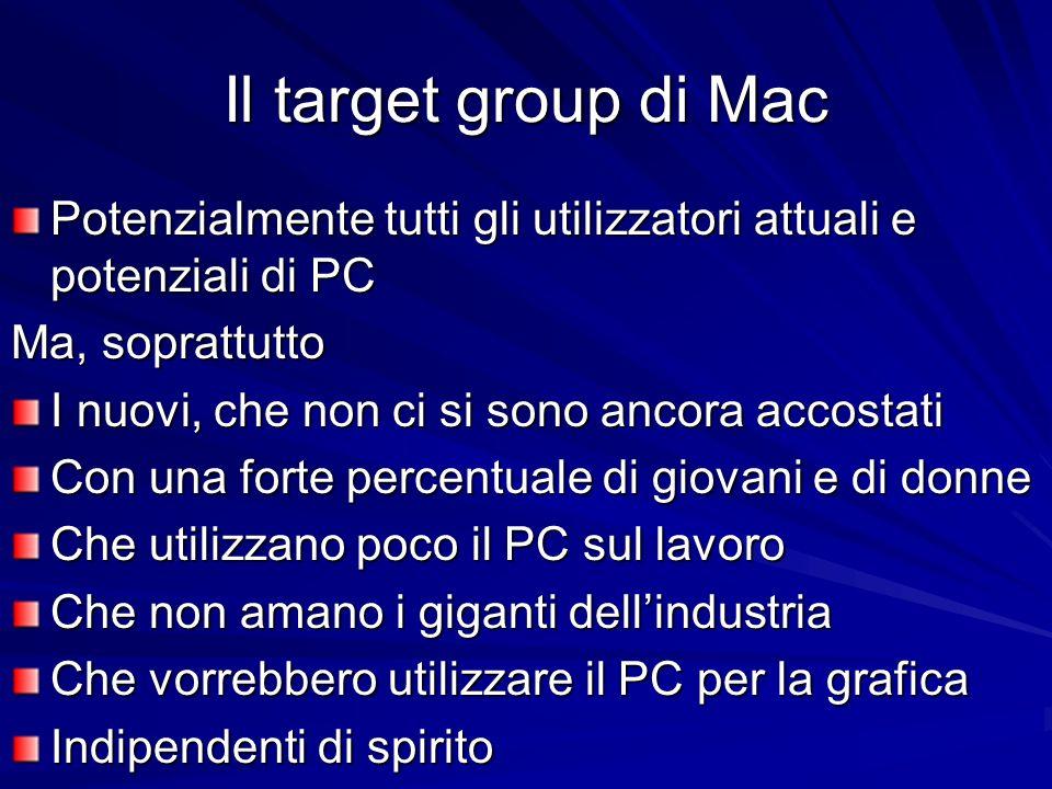 Il target group di Mac Potenzialmente tutti gli utilizzatori attuali e potenziali di PC Ma, soprattutto I nuovi, che non ci si sono ancora accostati C