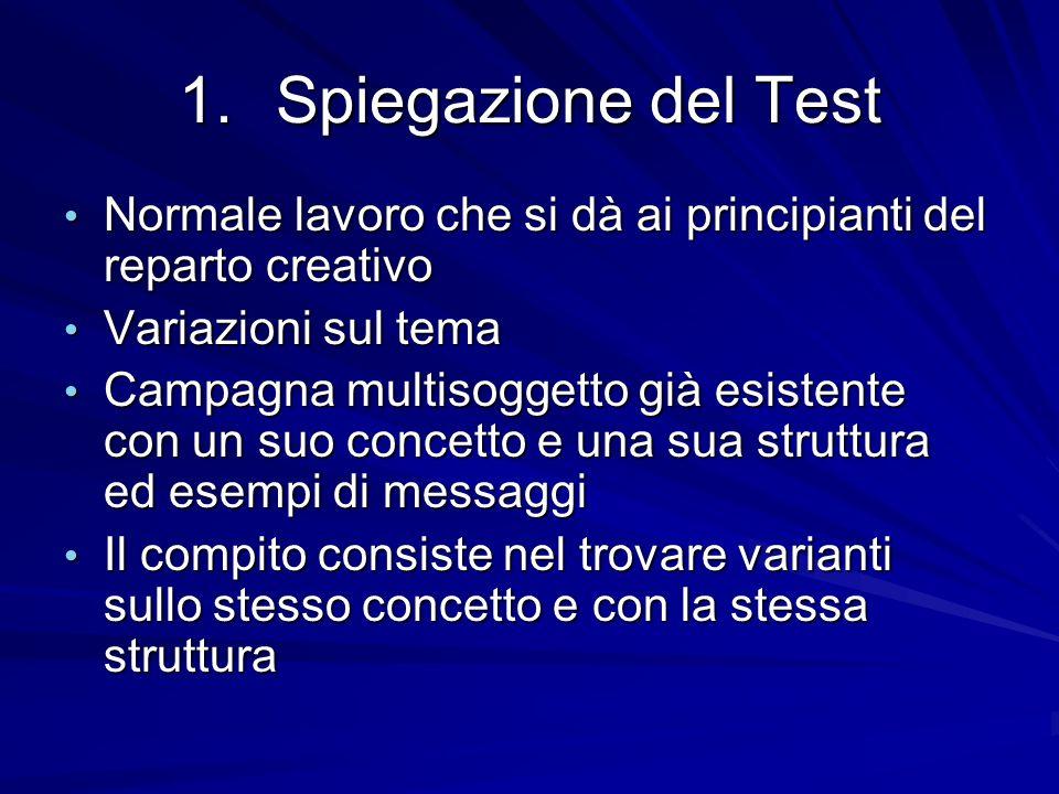 1.Spiegazione del Test Normale lavoro che si dà ai principianti del reparto creativo Normale lavoro che si dà ai principianti del reparto creativo Var