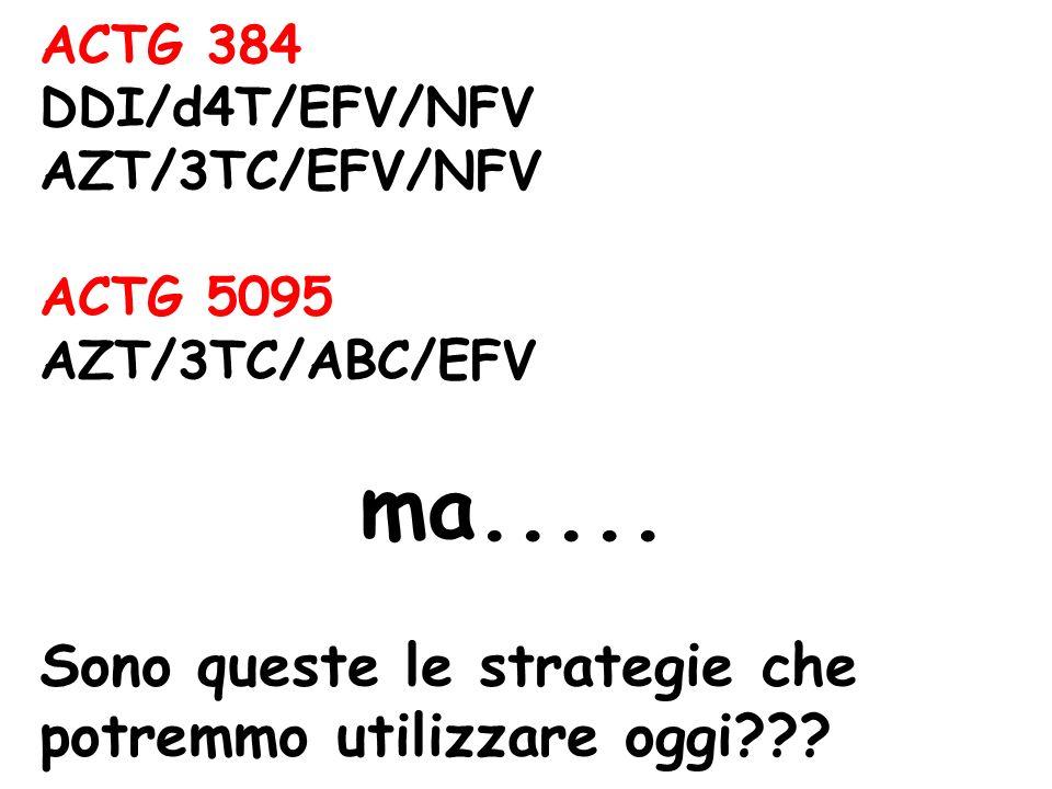 ACTG 384 DDI/d4T/EFV/NFV AZT/3TC/EFV/NFV ACTG 5095 AZT/3TC/ABC/EFV ma.....