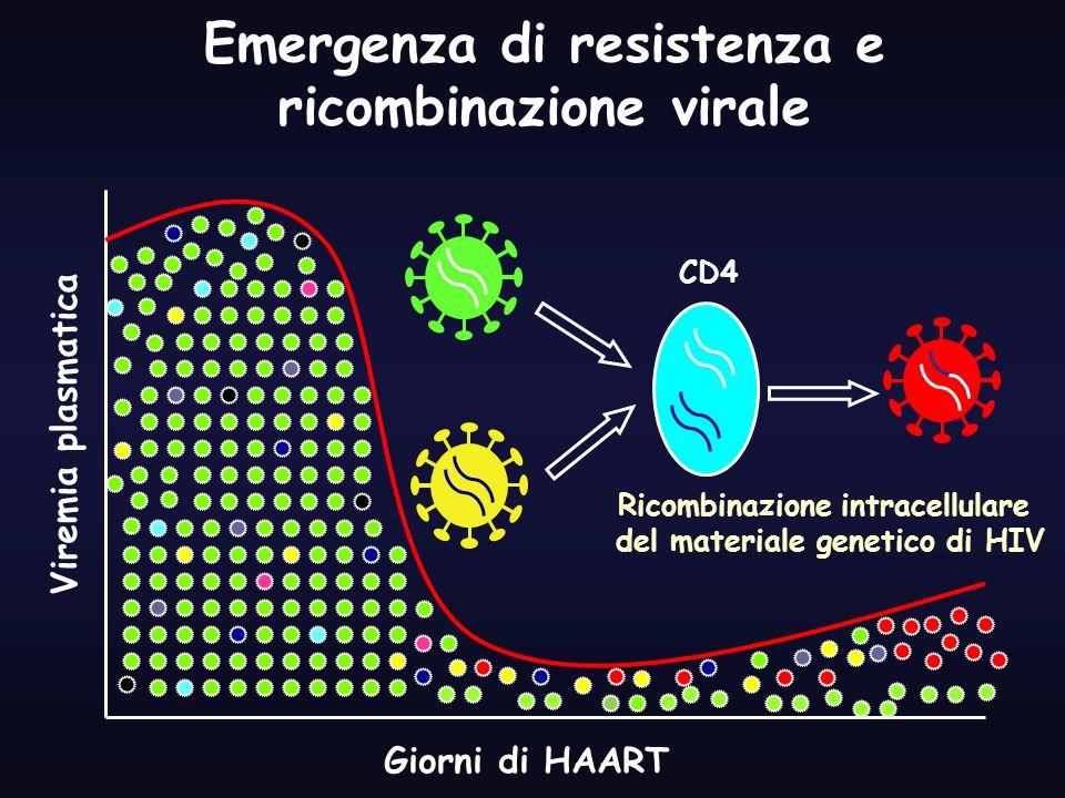 Giorni di HAART Viremia plasmatica Emergenza di resistenza e ricombinazione virale Ricombinazione intracellulare del materiale genetico di HIV CD4