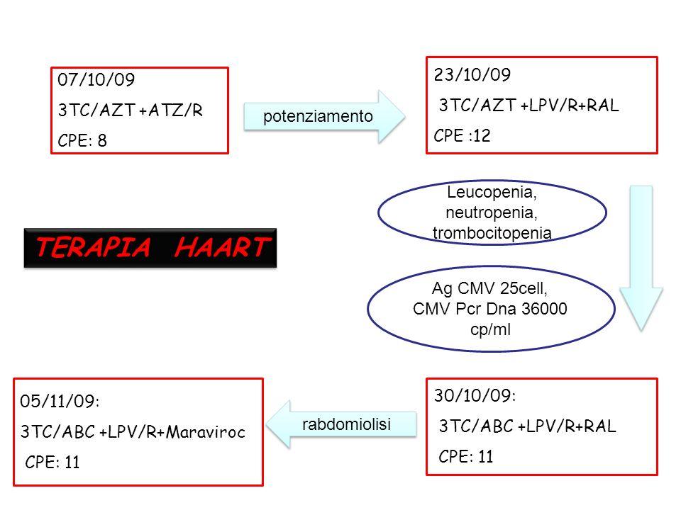 07/10/09 3TC/AZT +ATZ/R CPE: 8 23/10/09 3TC/AZT +LPV/R+RAL CPE :12 Leucopenia, neutropenia, trombocitopenia 30/10/09: 3TC/ABC +LPV/R+RAL CPE: 11 potenziamento Ag CMV 25cell, CMV Pcr Dna 36000 cp/ml 05/11/09: 3TC/ABC +LPV/R+Maraviroc CPE: 11 rabdomiolisi TERAPIA HAART