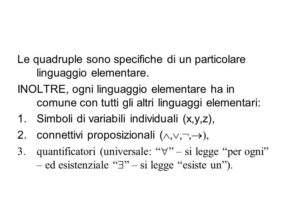 Le quadruple sono specifiche di un particolare linguaggio elementare. INOLTRE, ogni linguaggio elementare ha in comune con tutti gli altri linguaggi e
