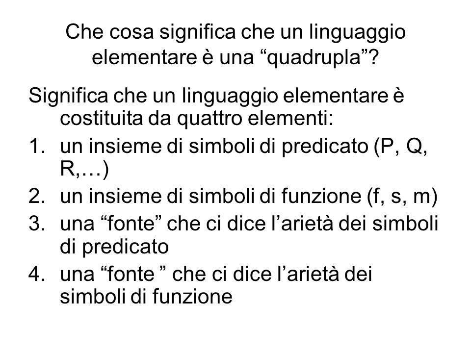Che cosa significa che un linguaggio elementare è una quadrupla? Significa che un linguaggio elementare è costituita da quattro elementi: 1.un insieme