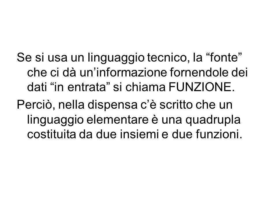 Se si usa un linguaggio tecnico, la fonte che ci dà uninformazione fornendole dei dati in entrata si chiama FUNZIONE.