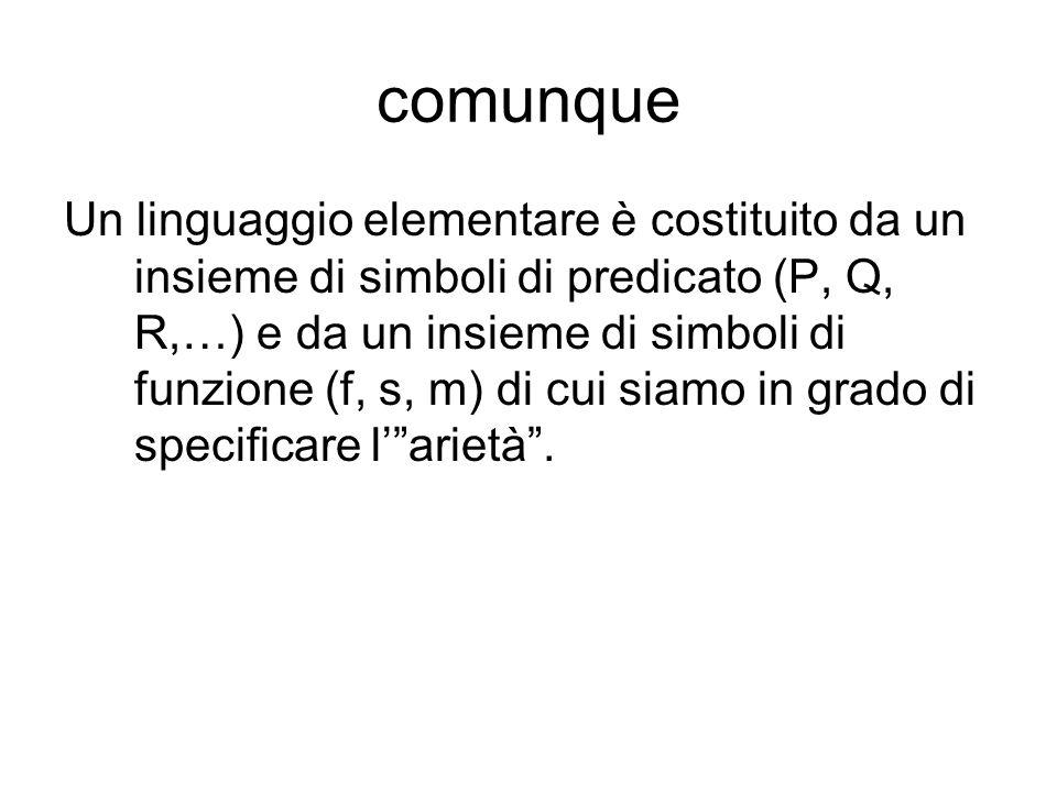 comunque Un linguaggio elementare è costituito da un insieme di simboli di predicato (P, Q, R,…) e da un insieme di simboli di funzione (f, s, m) di cui siamo in grado di specificare larietà.