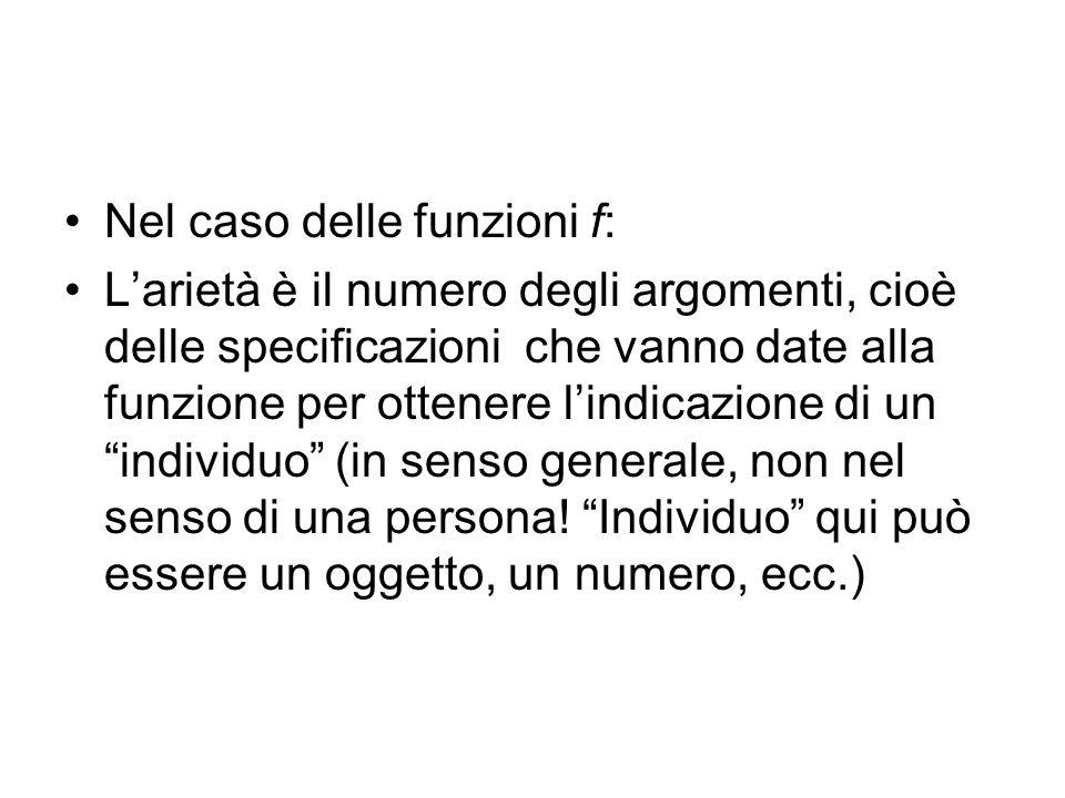 Nel caso delle funzioni f: Larietà è il numero degli argomenti, cioè delle specificazioni che vanno date alla funzione per ottenere lindicazione di un individuo (in senso generale, non nel senso di una persona.