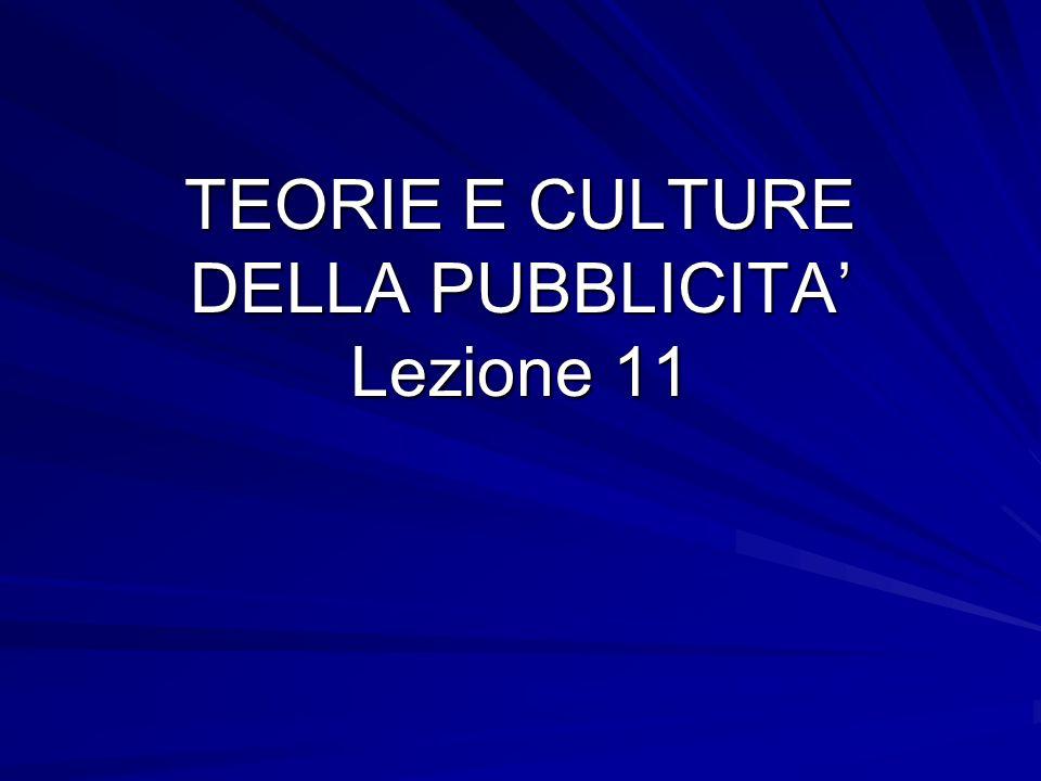 TEORIE E CULTURE DELLA PUBBLICITA Lezione 11