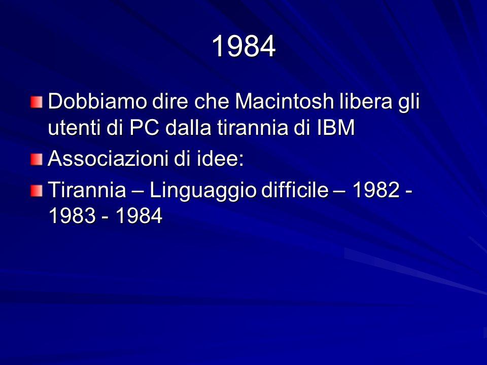 1984 Dobbiamo dire che Macintosh libera gli utenti di PC dalla tirannia di IBM Associazioni di idee: Tirannia – Linguaggio difficile – 1982 - 1983 - 1984