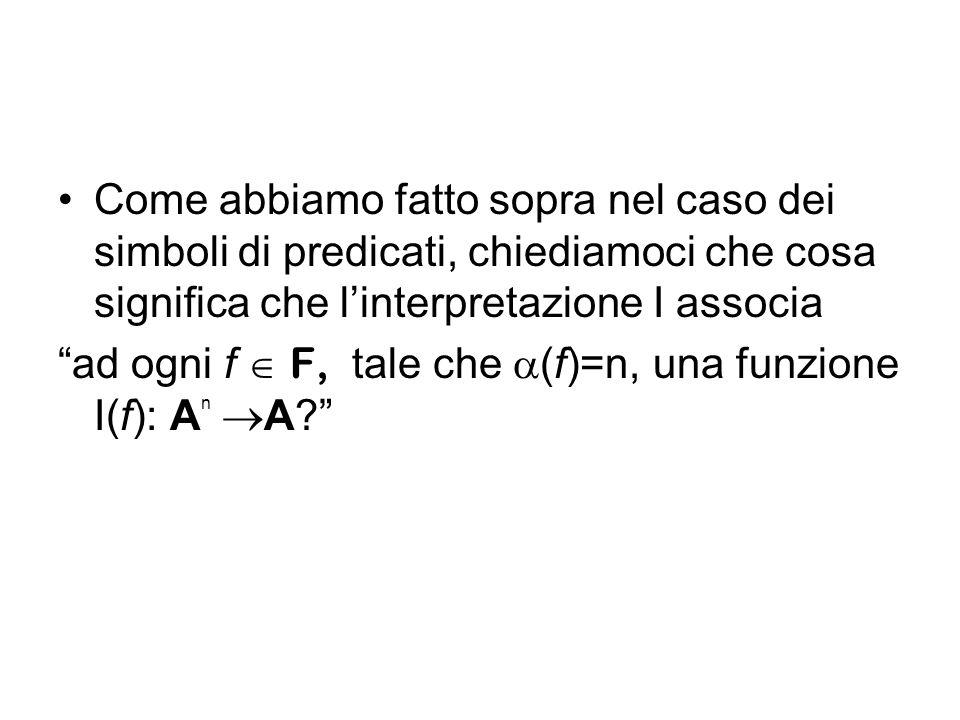 Come abbiamo fatto sopra nel caso dei simboli di predicati, chiediamoci che cosa significa che linterpretazione I associa ad ogni f F, tale che (f)=n,