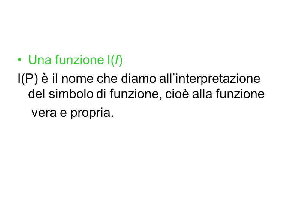 Una funzione I(f) I(P) è il nome che diamo allinterpretazione del simbolo di funzione, cioè alla funzione vera e propria.