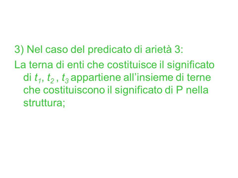 3) Nel caso del predicato di arietà 3: La terna di enti che costituisce il significato di t 1, t 2, t 3 appartiene allinsieme di terne che costituisco