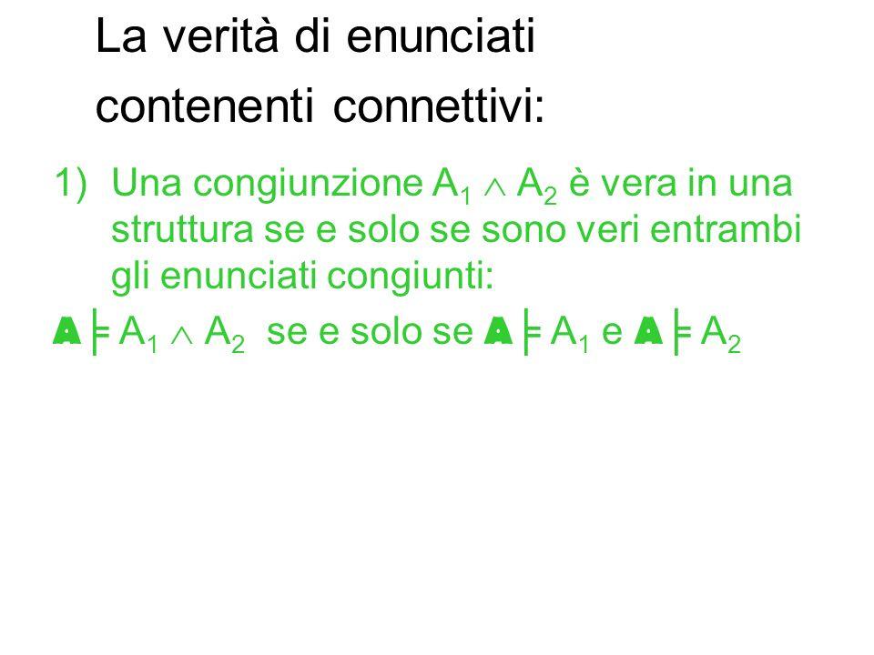 1)Una congiunzione A 1 A 2 è vera in una struttura se e solo se sono veri entrambi gli enunciati congiunti: A A 1 A 2 se e solo se A A 1 e A A 2 La ve