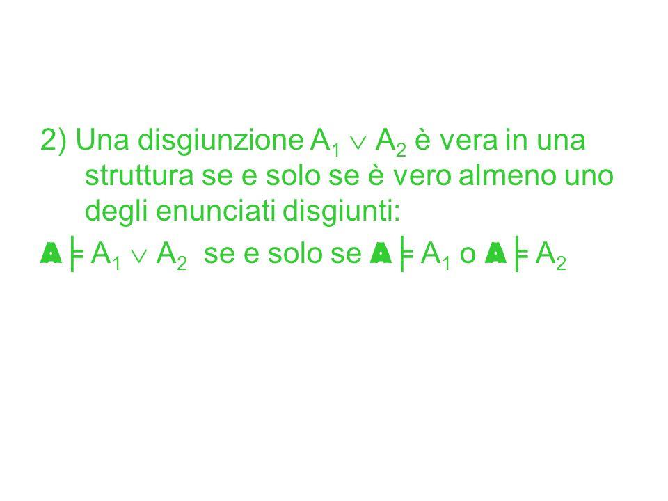 2) Una disgiunzione A 1 A 2 è vera in una struttura se e solo se è vero almeno uno degli enunciati disgiunti: A A 1 A 2 se e solo se A A 1 o A A 2
