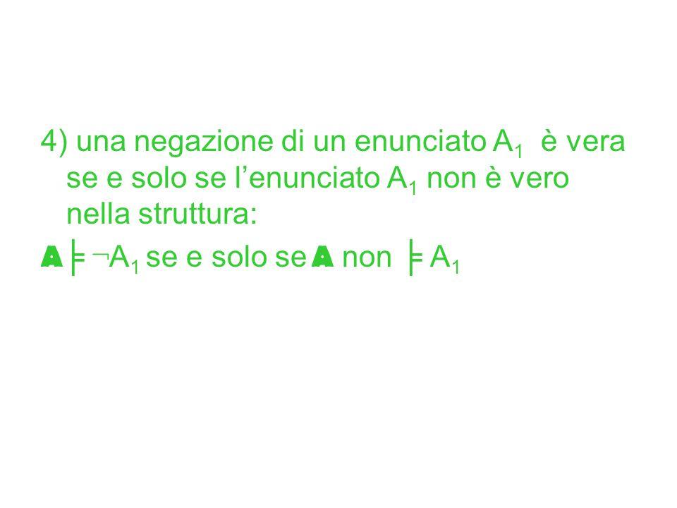 4) una negazione di un enunciato A 1 è vera se e solo se lenunciato A 1 non è vero nella struttura: A ¬ A 1 se e solo se A non A 1