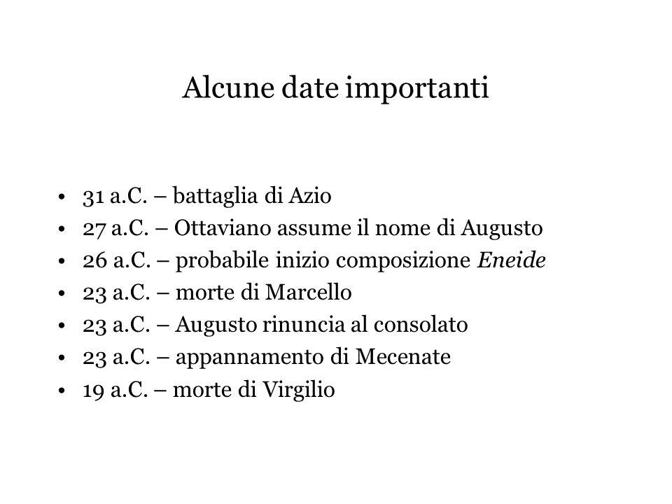 Alcune date importanti 31 a.C. – battaglia di Azio 27 a.C. – Ottaviano assume il nome di Augusto 26 a.C. – probabile inizio composizione Eneide 23 a.C