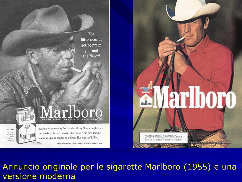 Annuncio originale per le sigarette Marlboro (1955) e una versione moderna