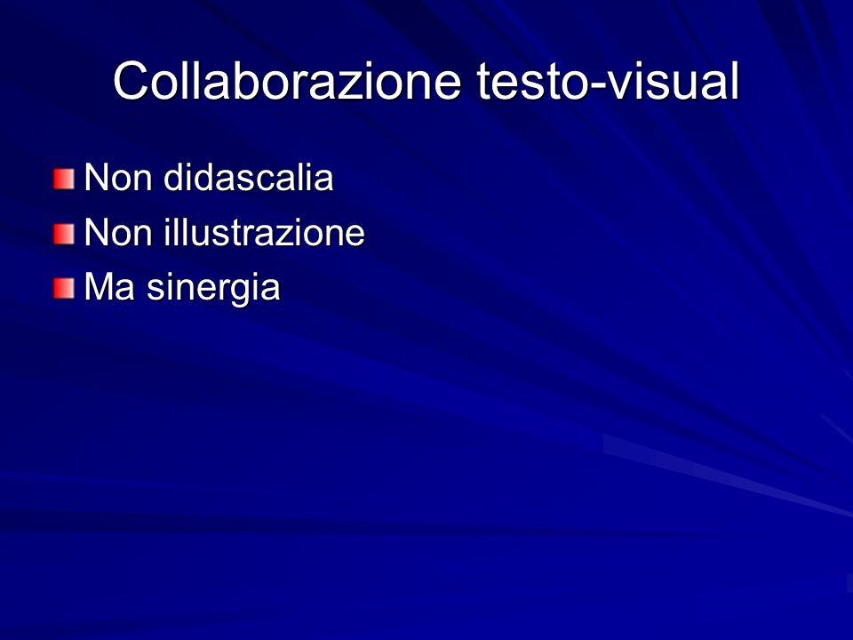 Collaborazione testo-visual Non didascalia Non illustrazione Ma sinergia
