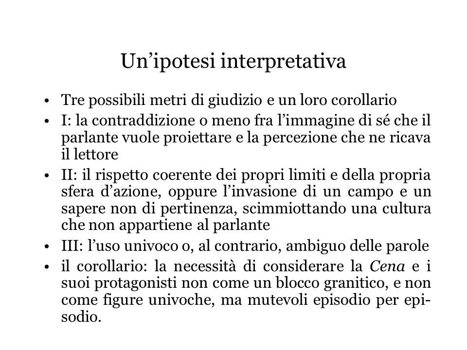 Unipotesi interpretativa Tre possibili metri di giudizio e un loro corollario I: la contraddizione o meno fra limmagine di sé che il parlante vuole pr