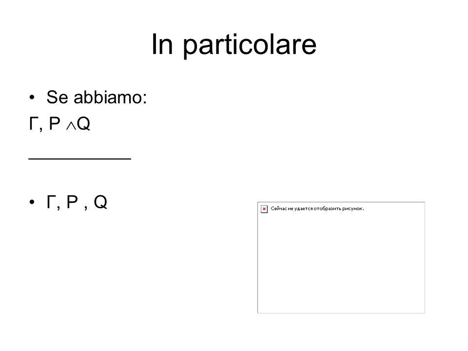 In particolare Se abbiamo: Γ, P Q __________ Γ, P, Q