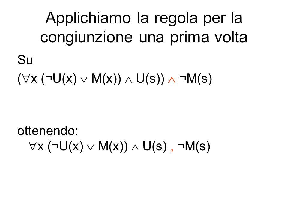Applichiamo la regola per la congiunzione una prima volta Su ( x (¬U(x) M(x)) U(s)) ¬M(s) ottenendo: x (¬U(x) M(x)) U(s), ¬M(s)