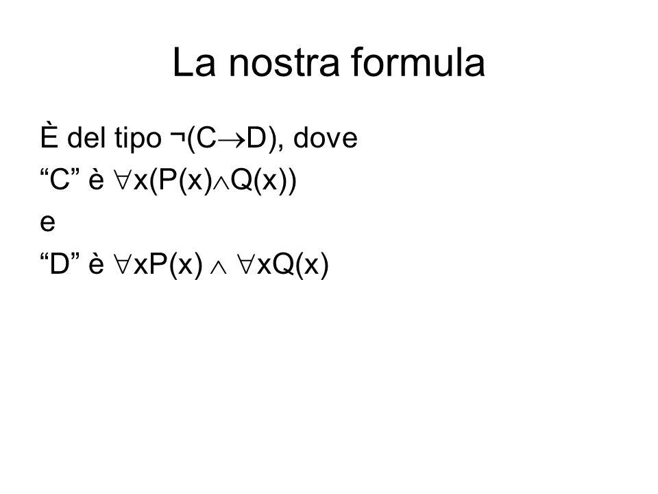 La nostra formula È del tipo ¬(C D), dove C è x(P(x) Q(x)) e D è xP(x) xQ(x)